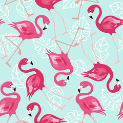 Flamingo seamless pattern on mint green background. Pink flamingo vector background design for fabric and decor. Vector trendy illustration.