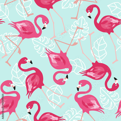 Cotton fabric Flamingo seamless pattern on mint green background. Pink flamingo vector background design for fabric and decor. Vector trendy illustration.