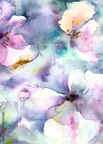 Blue flowers. Abstract floral background. Watercolor flowers. Wedding invitation template. Greeting card with lilac flowers.