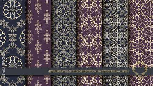 Vector abstract islamic element concept seamless pattern design collection
