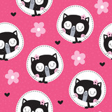 seamless pink cat pattern vector illustration