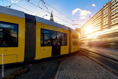 Modern electric tram yellow color on the streets of Berlin Poster