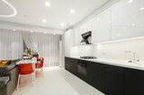 Modern white kitchen and dining room - 157413223