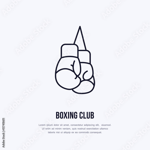 Boxing gloves vector line icon. Box club logo, equipment sign. Sport competition illustration.