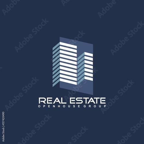 Papiers peints Bleu nuit Real Estate logo design template. Corporate branding identity.
