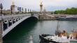 Photo of iconic Alexander III bridge, Paris, France