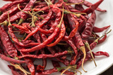 Red Dried Chillies or Dry chillies on white plate