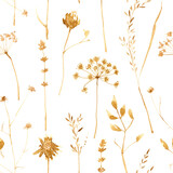 Seamless pattern with dry flowers and grass isolated on white. Hand painted watercolor illustration.