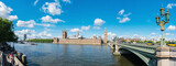 Panoramic view on London Houses of Parliament and thames