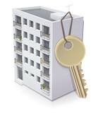 Immeuble et sa clé (reflet) - 157434417