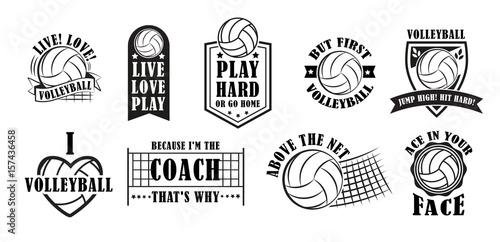 Volleyball logo set, vector illustration