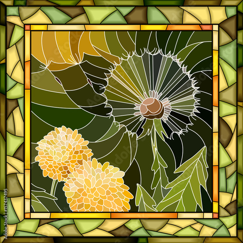 vector-mosaic-illustration-of-flower-dandelion
