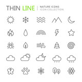 Fototapety Collection of nature thin line icons