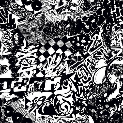 Czarno-biały wzór graffiti, bombardowanie naklejki
