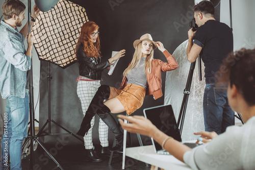 Model during photoshoot