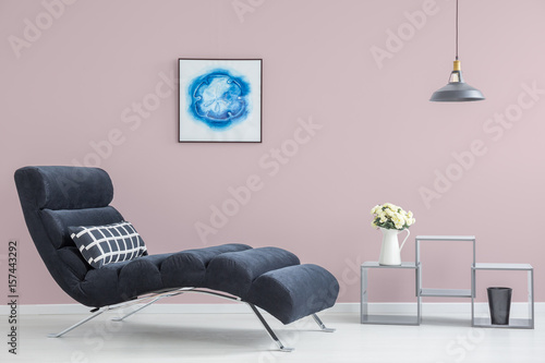 Pink wall in modern interior