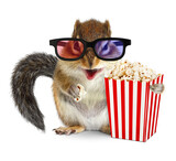 Funny animal chipmunk watching movie with popcorn - 157445471