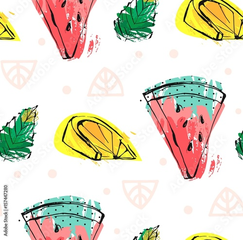 Hand drawn vector abstract cute funny summer time fruits seamless pattern with watermelon,lemon,mint leaves and freehand textures isolated on white background.Wedding,birthday,save the date,kids menu. - 157447280