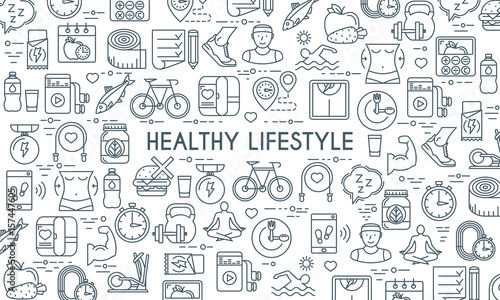 Healthy lifestyle banner. Design template with thin line icons on theme fitness, nutrition and dieting. Vector illustration - 157447605