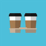 Two paper coffee cups in cardboard holder. Flat design style