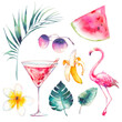 Watercolor summer set. Hand drawn vacation icons: flamingo, cocktail, watermelon slice, sunglasses, frangipani tropical flower, banana, palm leaves and monstera leaf.