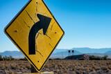 Worn traffic sign in a desert