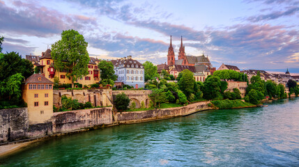 Basel Old Town with Munster cathedral and Rhine, Switzerland