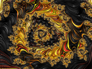 Fractal Pattern in Red, Black, and Gold