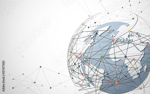 Global network connection. World map point and line composition concept of global business. Vector Illustration