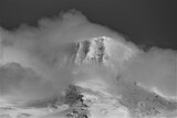 Ice-covered peak in the clouds
