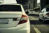 cars in a tourist traffic jam