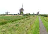 Authentic Dutch Windmills in Kinderdijk Historic Windmill Complex, UNESCO World Heritage Site in Netherlands
