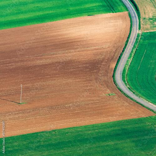 Poster Vue aérienne de champs près de Courtomer dans l'Orne en France