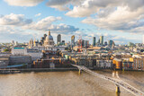 London and St Paul Cathedral at sunset, aerial view