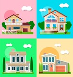Different residential houses exterior - 157495029