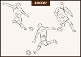 Set of a vector illustration shows a football player kicks the ball. Soccer - 157498481