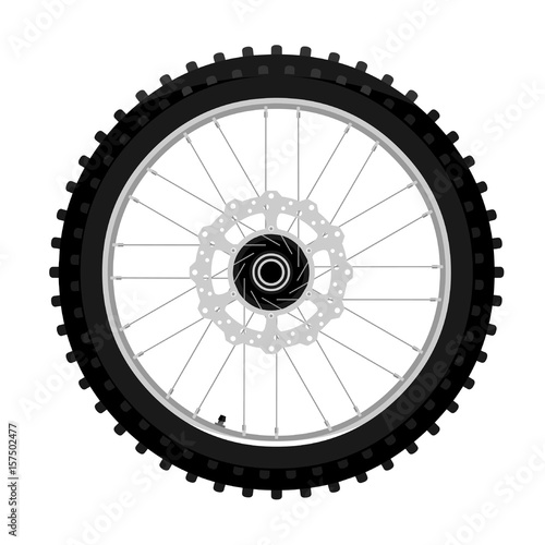 Classic motocross motorcycle cleat front wheel with brake rotor left side view graffiti style isolated on white vector illustration