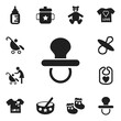 Set Of 12 Editable Baby Icons. Includes Symbols Such As Pram, Pacifier, Nursing Bottle And More. Can Be Used For Web, Mobile, UI And Infographic Design.