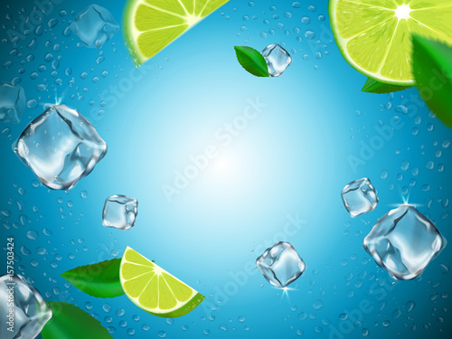 flying lemons and ice cubes - 157503424