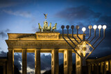 BERLIN, GERMANY- December 24, 2016: Brandenburg Gate famous landmark in Berlin, Germany,rebuilt in the late 18th century as a neoclassical triumphal arch in Berlin