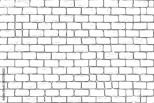 Fototapeta White bricks wall. Seamless pattern background