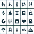 Mothers Day Icon Design Concept. Set Of 20 Such Elements As Letter, Child And Pregnancy. Beautiful Symbols For Child, Mam And Care.