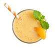 Glass of apricot milkshake