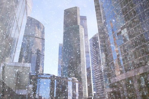 city skyscrapers snow snowfall - 157513068