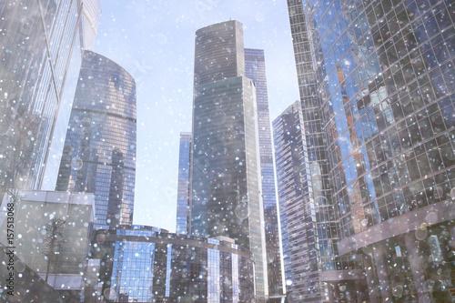 city skyscrapers snow snowfall - 157513068