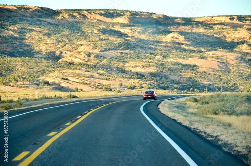 Fotobehang Groen blauw アリゾナの道路