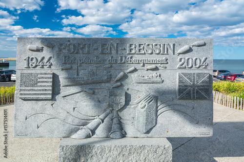 Tablet of D-Day in Port-en-Bessin-Huppain, Normandy Poster