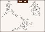 Set of a vector illustration shows a football player kicks the ball. Soccer