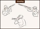 Set of a vector illustration shows a sportsman shoots a gun. Sport. Shooting