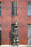 firefighters on the wooden ladder during firefighting in the fir
